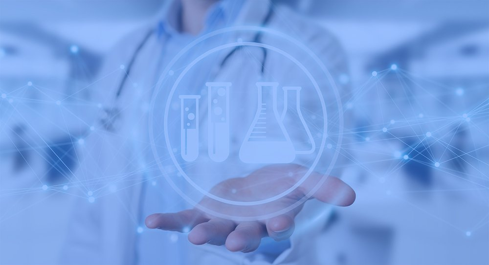 Doctor on blurred background holding digital analysis result icons 3D rendering